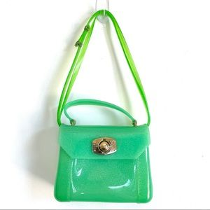 Y2K Neon Glittery Jelly Purse with Gold Clasp